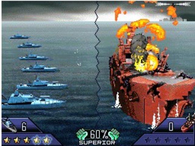 Der Gefechtsverlauf wird euch auf dem oberen Bildschirm gezeigt.