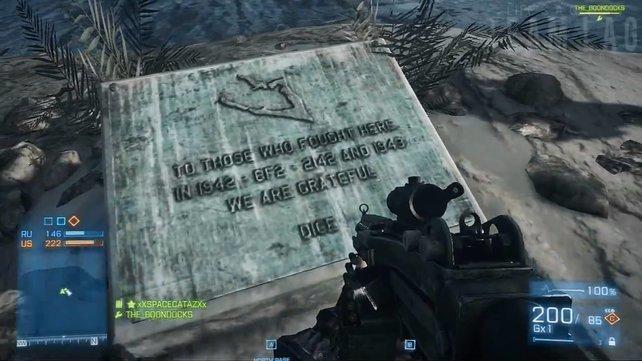 Die Gedenktafel in Battlefield 3: Ehre, wem Ehre gebührt!