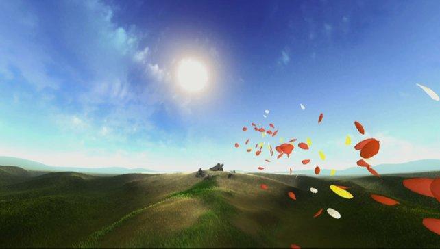 Unbeschwert schwebt ihr über Felder und sammelt Blütenblätter ein.