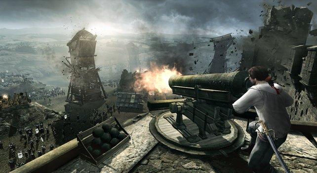 Bei der Verteidgung von Monteriggioni fährt Ezio schwere Geschütze auf.