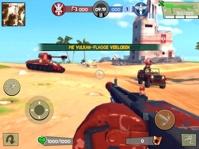 Zwei Parteien kämpfen mit Wummen und Fahrzeugen um die Dominanz auf den Karten.