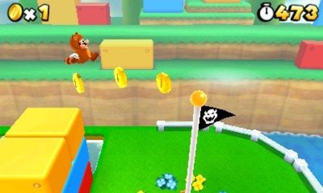 Mario trägt jetzt ein Waschbärenkostüm.