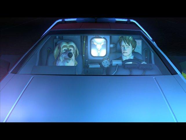 Hund Einstein und Marty sind unterwegs in ihrer Auto-Zeitmaschine.
