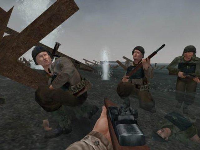 Im Schützengraben bei nach der Landung in der Normandie