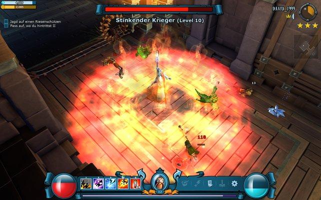 Kurzer Prozess mit stinkenden Kriegern: Der Magier verfügt über mächtige Zauber.