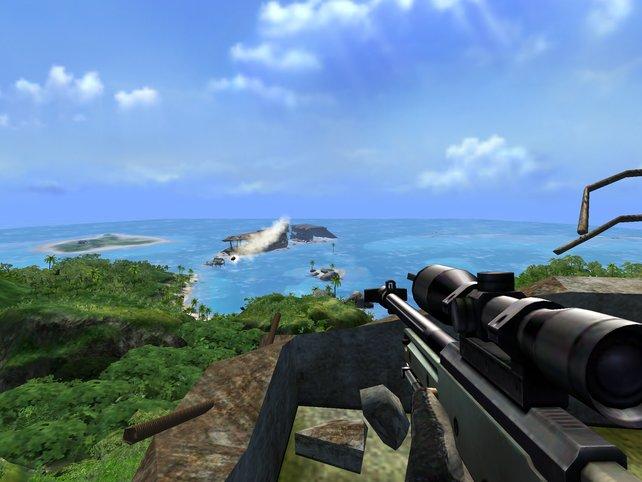Far Cry protzt 2004 mit Fernsicht, Tageswechsel und offener Dschungelwelt.