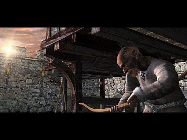 Der Bogenmacher bei der Arbeit