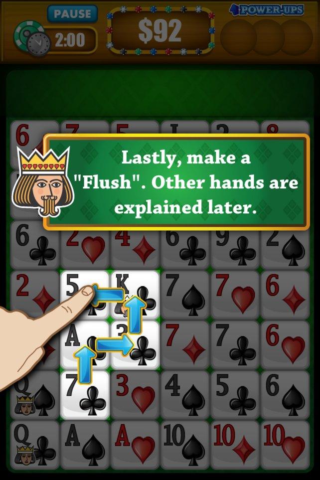 Einen Flush (5 Karten einer Farbe) findet ihr relativ leicht.