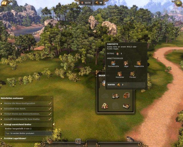 Klick-and-Build: Ein Klick auf die Landschaft und das Baumenü ploppt auf.