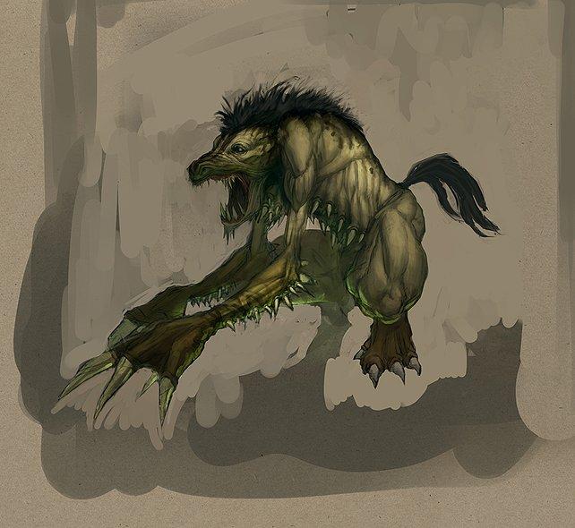 Der Aasfresser. Ein Hyänenähnliches, aggressives Beutetier.