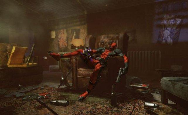 Nach Feierabend braucht auch Deadpool mal Pause.