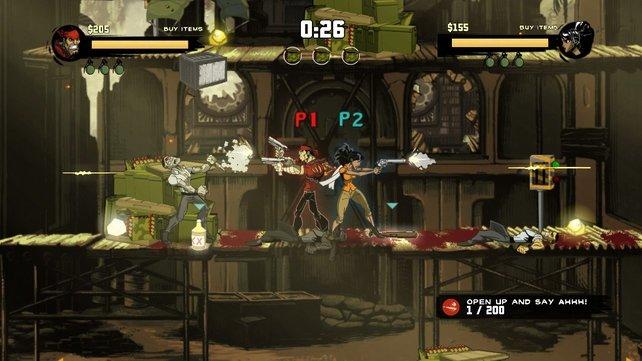 Im Zweispielermodus kämpft ihr gegen anrückende Gegnerwellen.