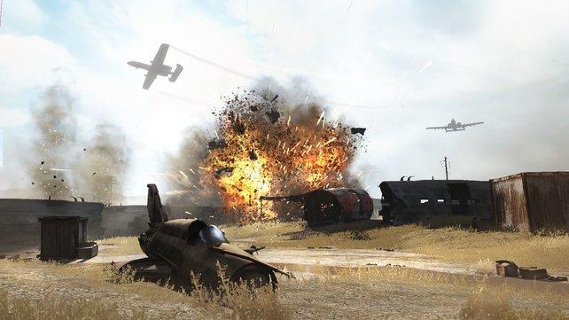 Die Explosionen sind hübsch, doch zerstört wird die Umgebung nicht.