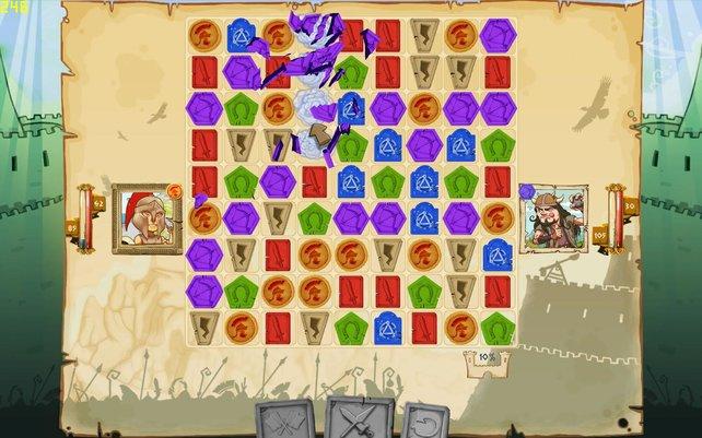 Schlachten gleichen einer Partie Bejeweled - die Spielsteine stärken eure Armee.