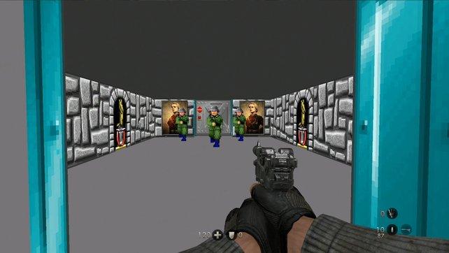 Versteckt im Spiel findet sich dieses Retro-Level von Wolfenstein.
