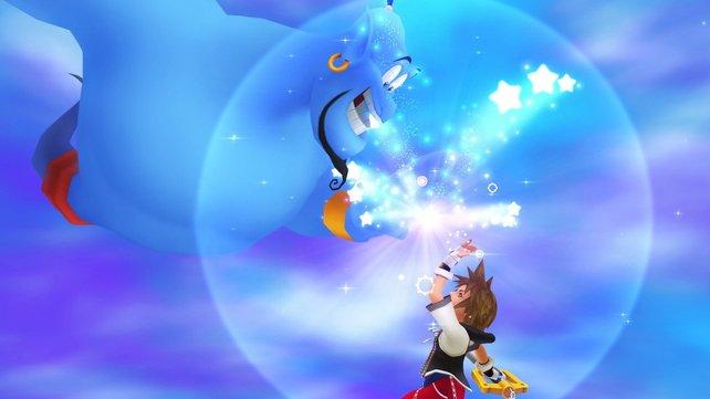 Schnell abgeklatscht, dann geht es los! Dschinnie ist einer der stärksten Verbündeten in Kingdom Hearts.