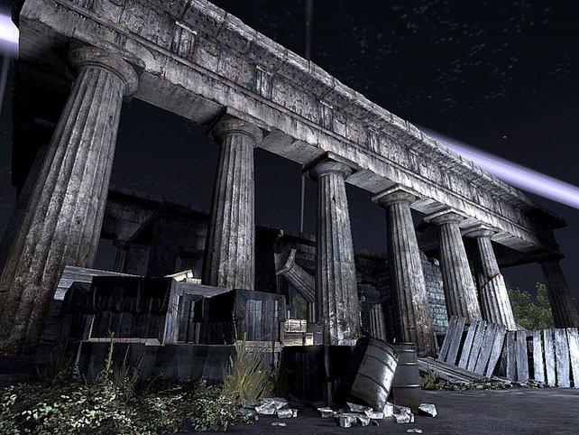 Ein Level spielt in den Ausgrabungsstätten von Paestum.