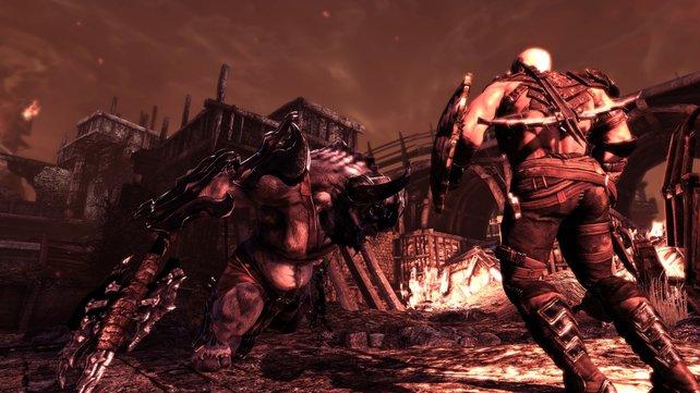 Caddoc kämpft gegen einen Minotaurus.