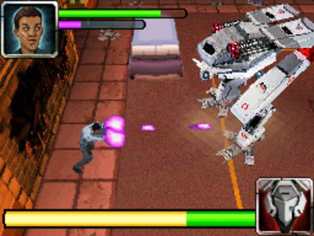 Mit Plasma-Kugeln bekämpft ihr einen Boss-Gegner.