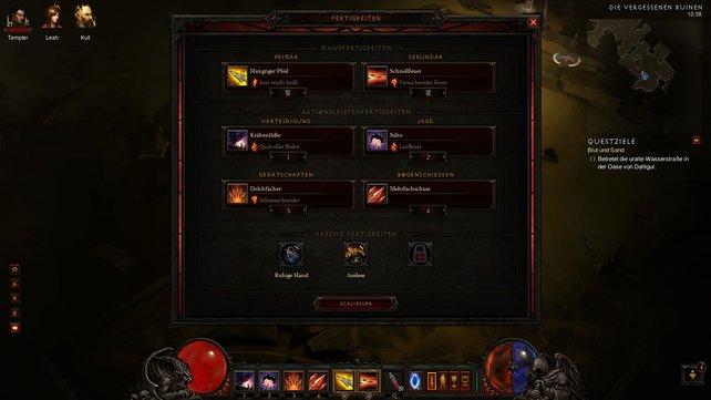 Wählt aus vier Fähigkeiten und aktiviert zusätzliche Runen.