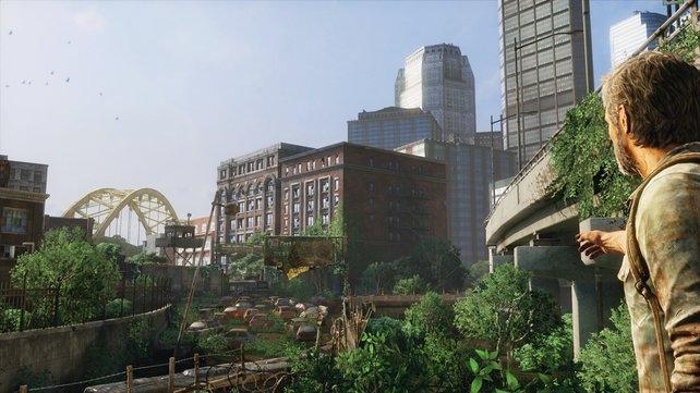 Beeindruckende Grafik: der Blick über die zerfallene Stadt.