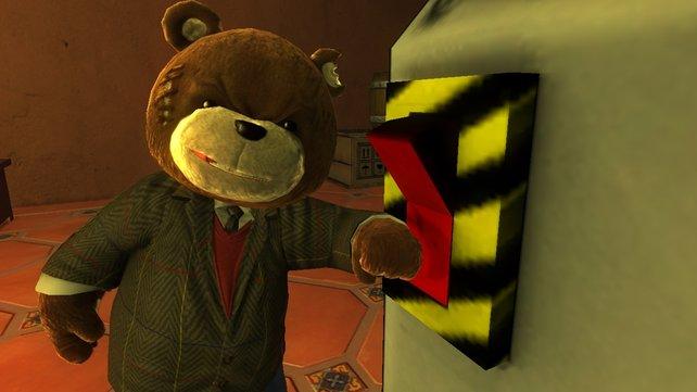 Im Anzug drückt Naughty Bear den roten Knopf ...