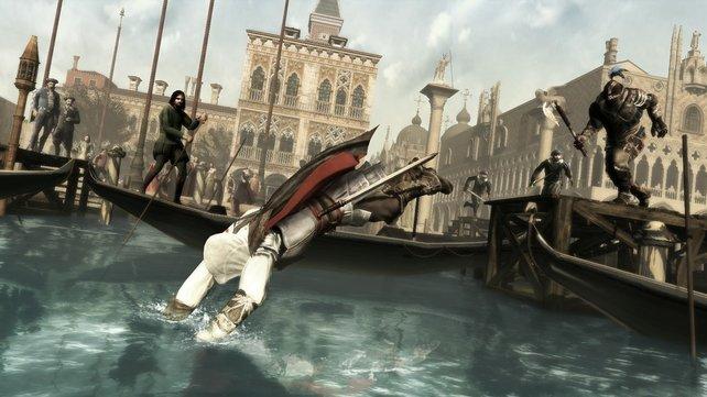 In Assassin's Creed 2 könnt ihr erstmalig das Wasser zur Flucht nutzen.