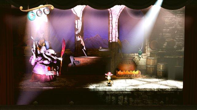 Als kleiner Puppenknabe Kutaro erhaltet ihr von der Hexen-Köchin des Königreichs Hinweise und Aufgaben.