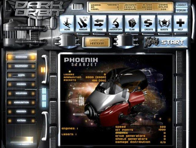 Mit zahlreichen Upgrades pimpt ihr euren Raumgleiter und macht ihn fit für die Schlacht.