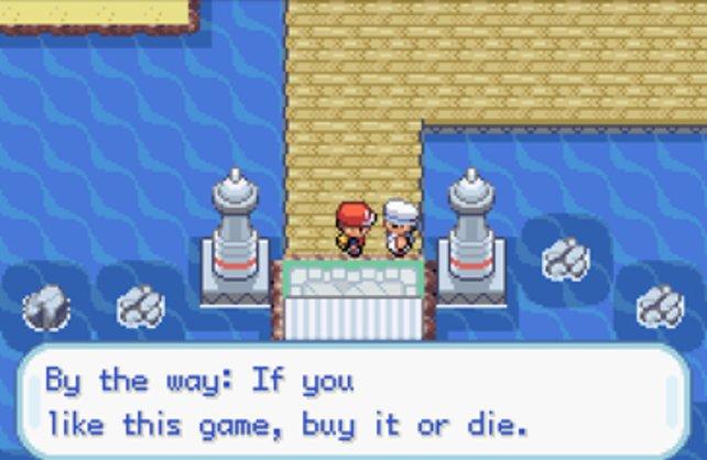 Versteckte Hinweise für Emulator-Nutzer in einem Pokémon-Spiel.