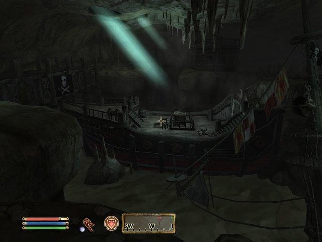 Das Piratenschiff stellt einen Diebesunterschlupf dar