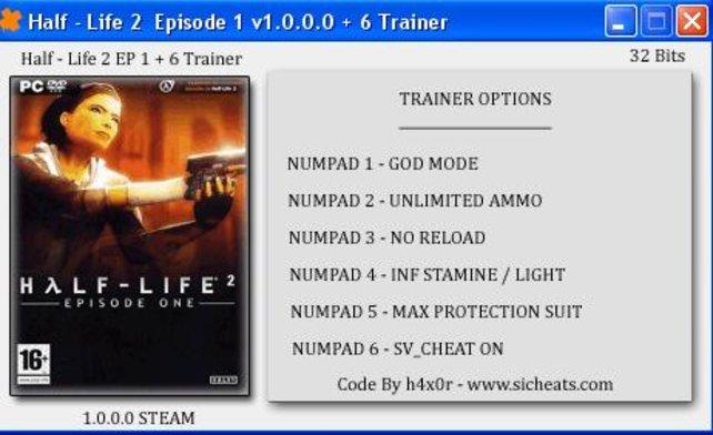 Скачать трейнер для half-life 2 episode one.