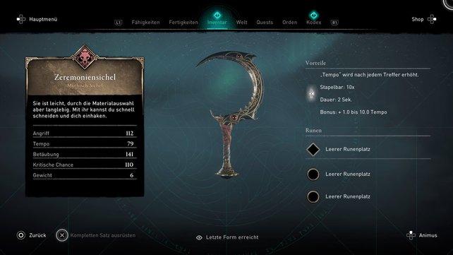 Das ist eine der neuen Sicheln die mit dem DLC erhältlich sind: die Zeremoniensichel.