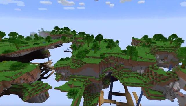 Mit Minecraft 1.14 haben fliegende Inseln Einzug in das Spiel gehalten.