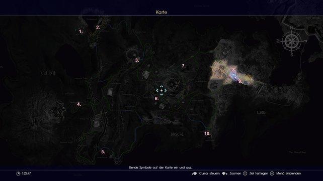 Auf der Karte findet ihr alle Streifzüge, die ihr bei FF 15 bestreiten könnt.