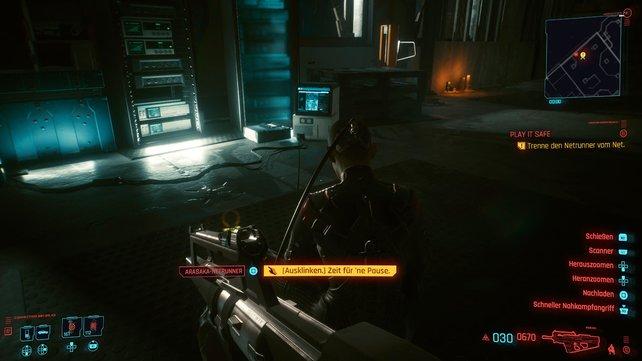 Nachdem ihr die drei Scharfschützen ausgeschaltet habt, müsst ihr den Netrunner aufspüren und dessen Platz einnehmen.