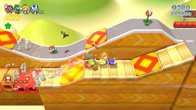 Zu viert macht Super Mario 3D World nicht nur den meisten Spaß, ihr erreicht so auch die 100 % viel schneller.