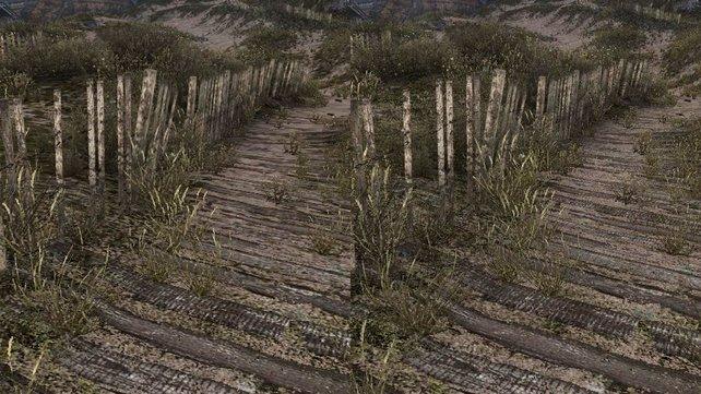 Vergrößerte Szene aus Dear Esther: Links mit bilinearem, rechts mit 16fachem anisotropischem Filter.