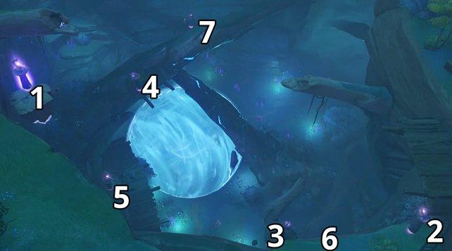 Das ist die richtige Reihenfolge beim Säulenrätsel in Orobashi-Vermächtnis – Teil 3.