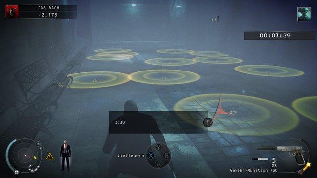 Wenn ihr doch durch die Minen wollt, dann achtet auf den gelben Umkreis.