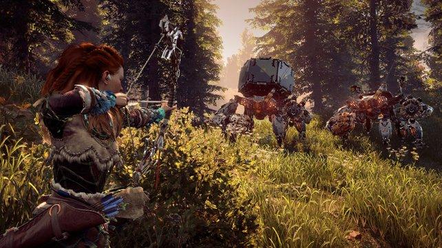 In Horizon - Zero Dawn ist das Schleichen ein wichtiger Teil der actionreichen Kämpfe.