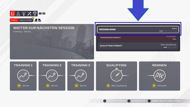 Wollt ihr die Rennlänge ändern, könnt ihr das nur vor einer Session tun.
