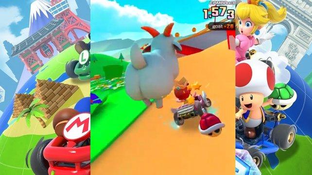 So sehen Ziegen im Mario Kart Tour aus.