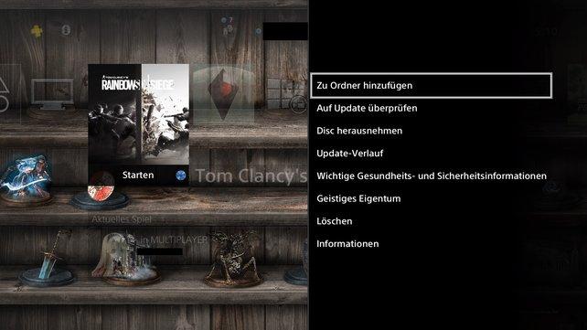 """Auf der PS4 könnt ihr ganz einfach Ordner erstellen. Wählt hierfür rechts im Menü """"Zu Ordner hinzufügen""""."""