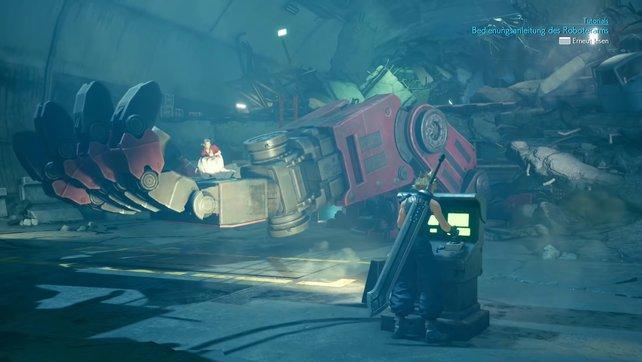 Nutzt mithilfe des Steuerpults den Robo-Arm, um Aerith bei der Leiter abzusetzen.
