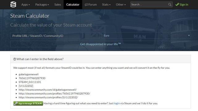 Steam-Account-Wert: Über solch einen Steam-Calculator könnt ihr zum Beispiel berechnen, wie viel euer Steam-Account ungefähr wert ist.
