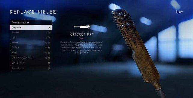 Findet alle Briefe und schließt die Herausforderungen ab, um einzigartige Nahkampfwaffen wie diesen Cricket-Schläger freizuschalten.