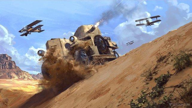 Mit so schwer gepanzerten Vehikeln durch die Wüste ziehen ist eine Herausforderung.