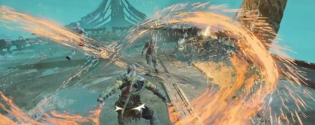 Mit den Chaosklingen kann Kratos jede Menge ... Chaos stiften!