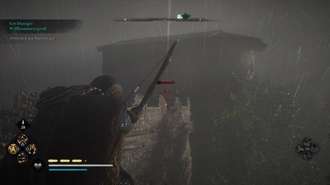 Erklimmt über den Baum die Mauer, schaltet die Wachen aus und schleicht über die Dächer und Bäume zur Kathedrale.